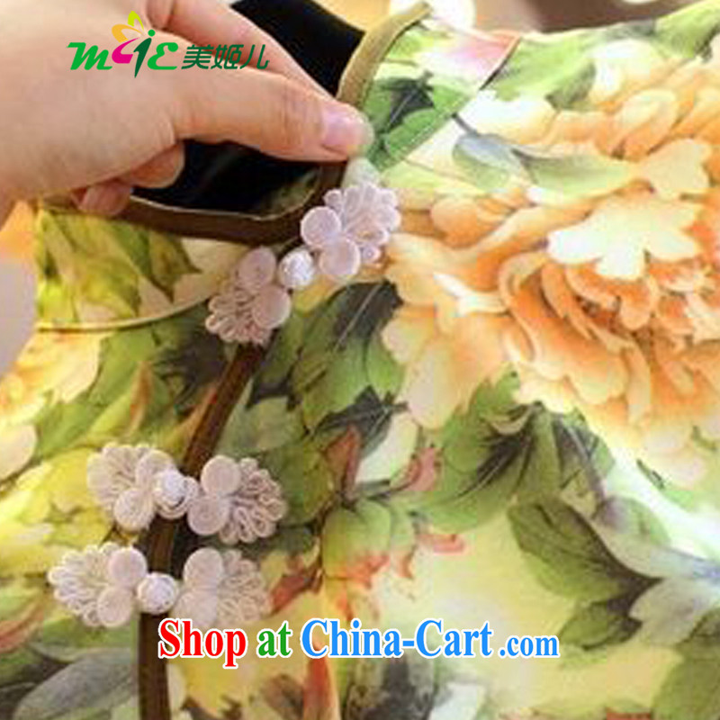 Mi-hee's 2015 summer new Ethnic Wind stamp tray back on the truck-waist graphics thin cheongsam dress yellow S, the United States and her son, and, on-line shopping
