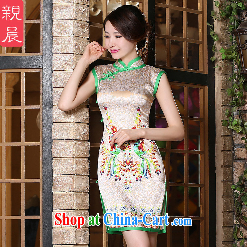 pro-am 2015 new daily improved stylish heavy Silk Cheongsam dress summer short, high quality sauna silk short 2 XL
