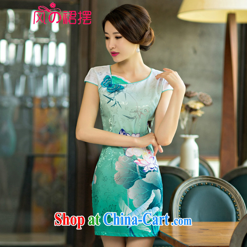 of the wind skirt with 2015 new summer standard attire dresses Lotus the gradient improved stylish dresses green XL