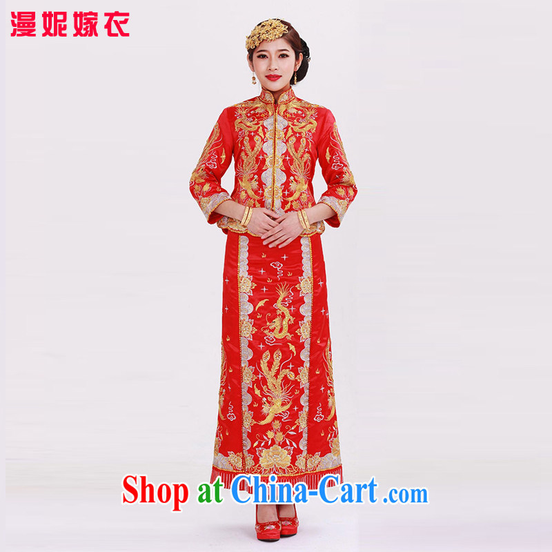 man she married Yi Su-wo service use Phoenix New Chinese beauty embroidery Phoenix use toast summer clothing bridal dresses wedding red wedding retro costumes married Yi XXL