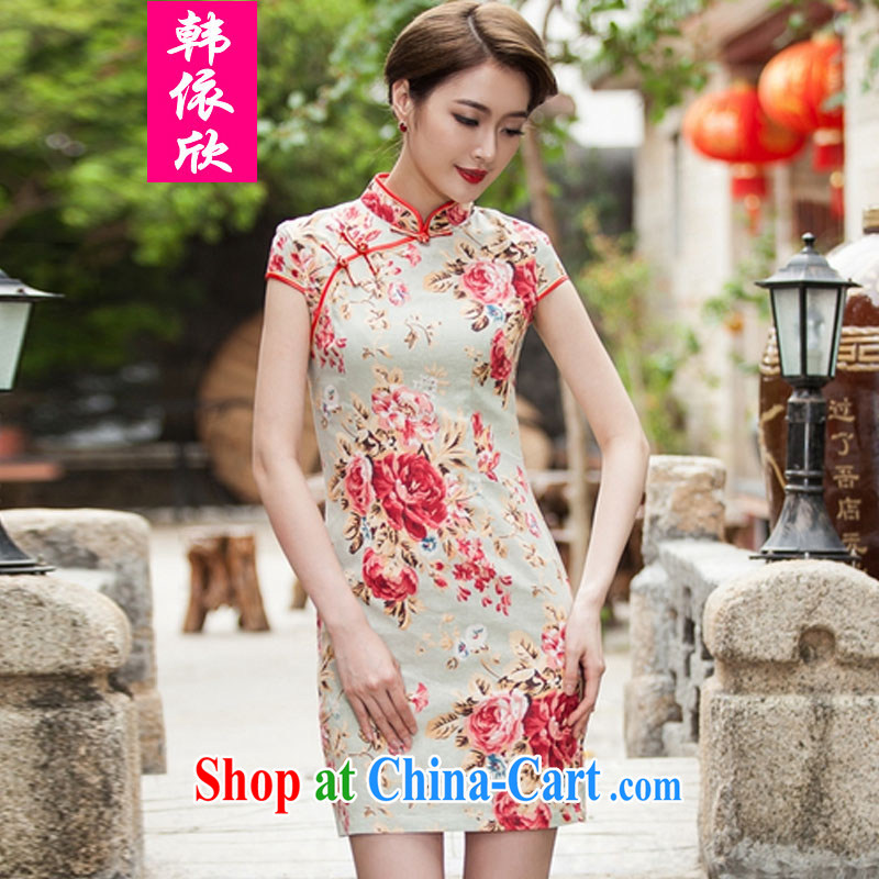 Korea was in accordance with 2015 spring and summer new, elegant beauty short cheongsam daily improved fashion cheongsam dress suit XXL