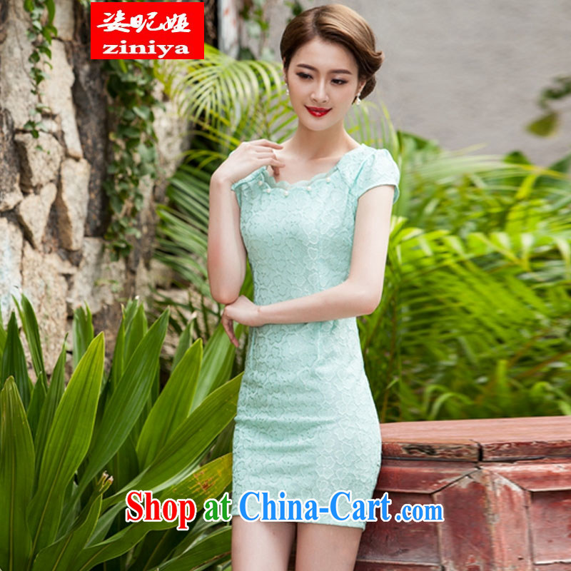 Colorful nickname Julia summer 2015 new, lace dresses and stylish beauty dress Openwork hook take Lake blue XL