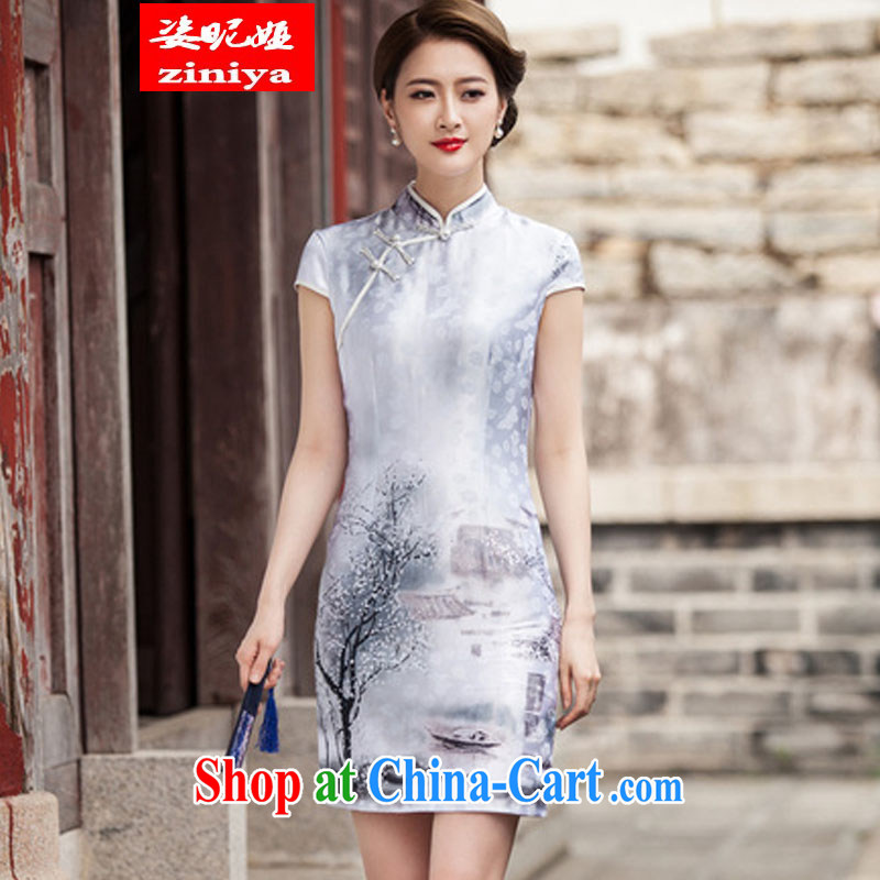 Colorful nickname Julia 2015 spring and summer short sleeve cheongsam dress retro fashion China wind everyday, qipao XXL paintings