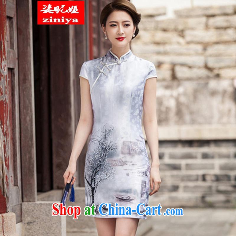Colorful nickname Julia 2015 spring and summer short sleeve cheongsam dress retro fashion China wind everyday, qipao XXL paintings