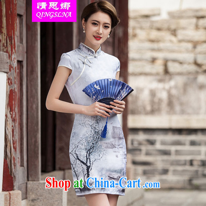 And Cisco's 2015 spring and summer New Classic short-sleeved cheongsam dress retro fashion China Daily, Chinese ink painting outfit XXL