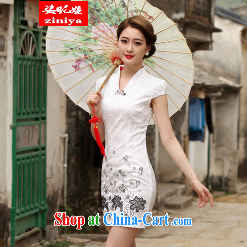 Colorful nickname Julia 2015 new Stylish retro short dresses summer improved cheongsam dress, daily outfit skirt white XXL