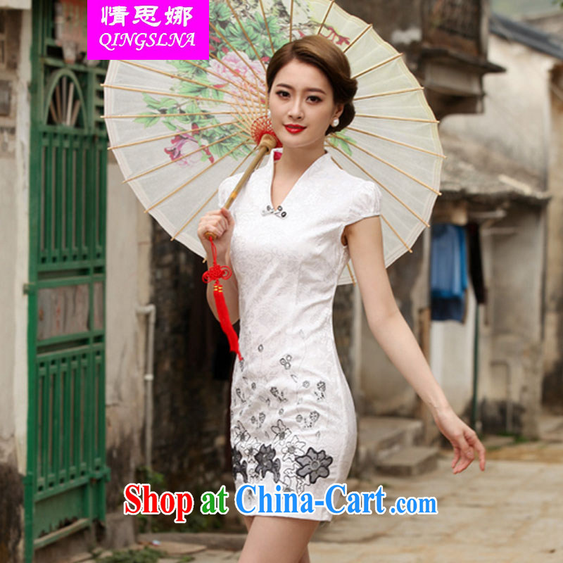 And Cisco's 2015 new Stylish retro short dresses summer improved cheongsam dress, daily outfit skirt white XXL