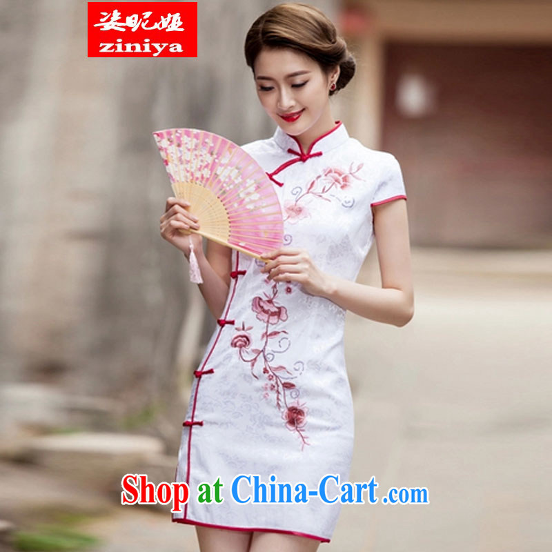 Colorful nickname Julia 2015 spring and summer Chinese Antique improved stylish short, cultivating daily cheongsam dress white M