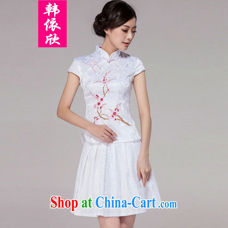 In accordance with South Korea welcomes 2015 spring and summer Tang with improved daily cheongsam dress retro style modern two-piece with white XXL