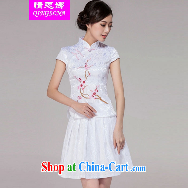 And Cisco's 2015 spring and summer new women Tang with improved daily cheongsam dress retro style modern two-piece with white XXL