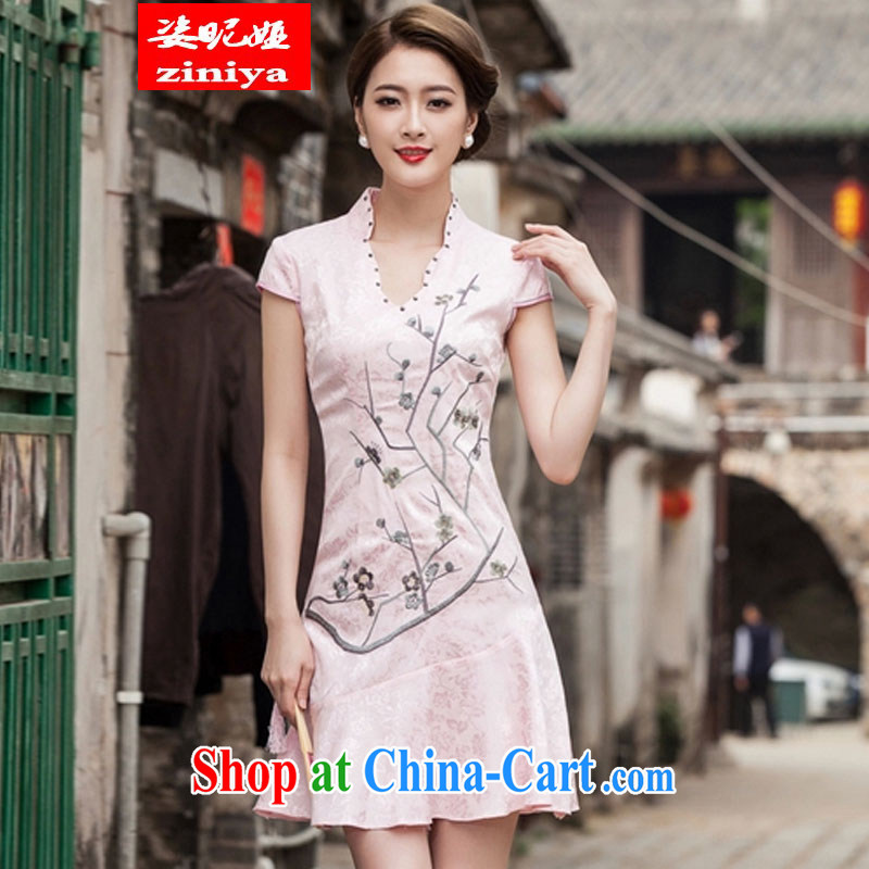 Colorful nickname Julia summer 2015 new V collar embroidered Phillips nails Pearl crowsfoot skirt with embroidery cheongsam red XL