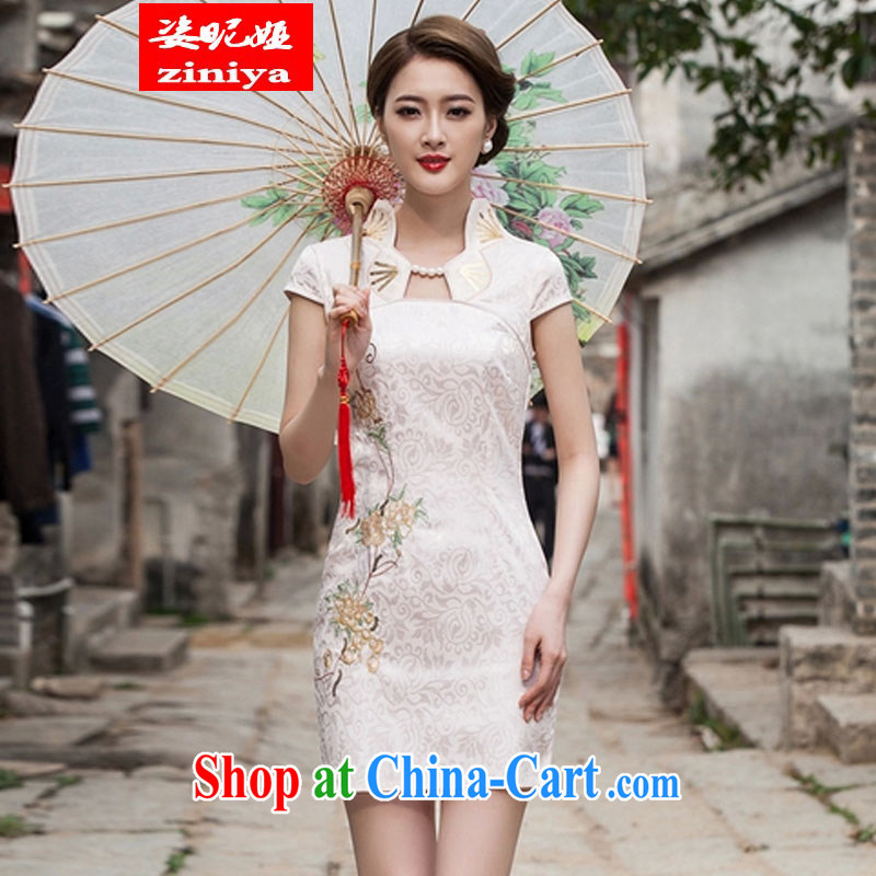 Colorful nickname Julia 2015 summer new Korean fashion improved cheongsam dress daily video thin beauty short cheongsam dress, apricot XL