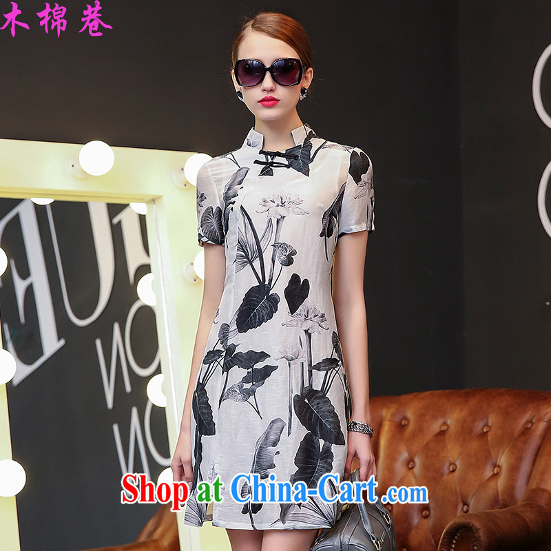 Wooden cotton lane 2015 new cheongsam dress in the summer long dresses Lotus improved cheongsam dress package and skirt, the blended water the lotus XL