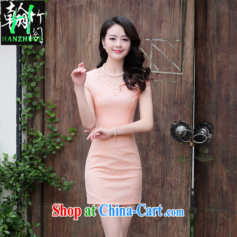 Han Bamboo House Summer 2015 new short-sleeved beauty embroidered dresses women daily video thin short elegant qipao dress pink XXL