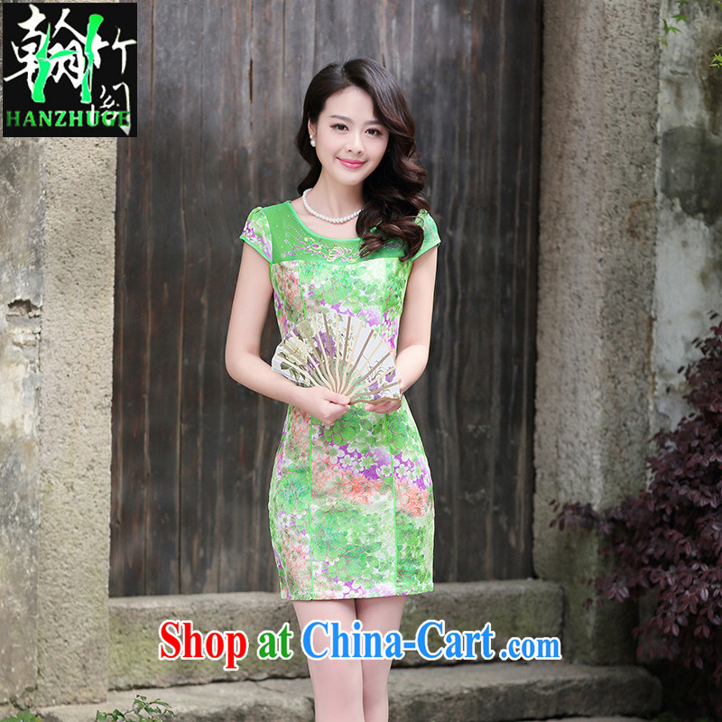 Wickham's Bamboo Pavilion 2015 new short-sleeved beauty stamp dresses summer stylish improved daily Chinese Dress cheongsam green the Peony XXL