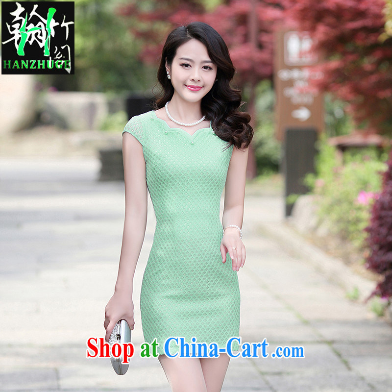 Han bamboo Pavilion 2015 new lace cultivating ethnic wind stylish improved retro dresses skirts solid color dresses fruit green M