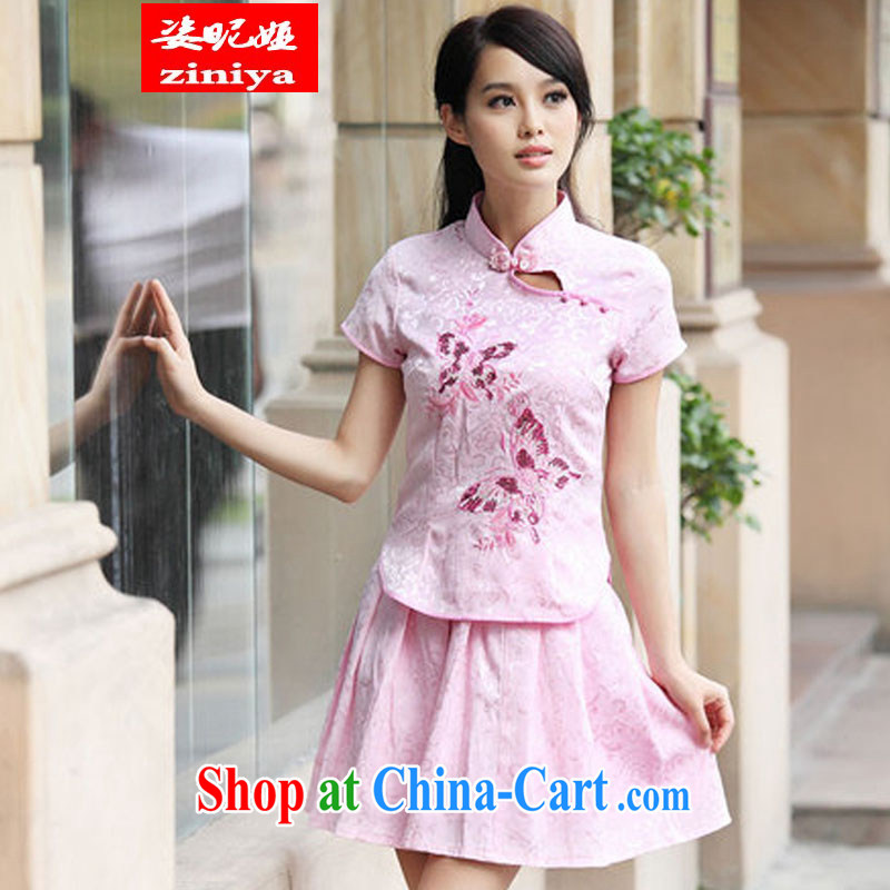 Colorful nickname Julia summer 2015, Retro cheongsam dress set pink XL