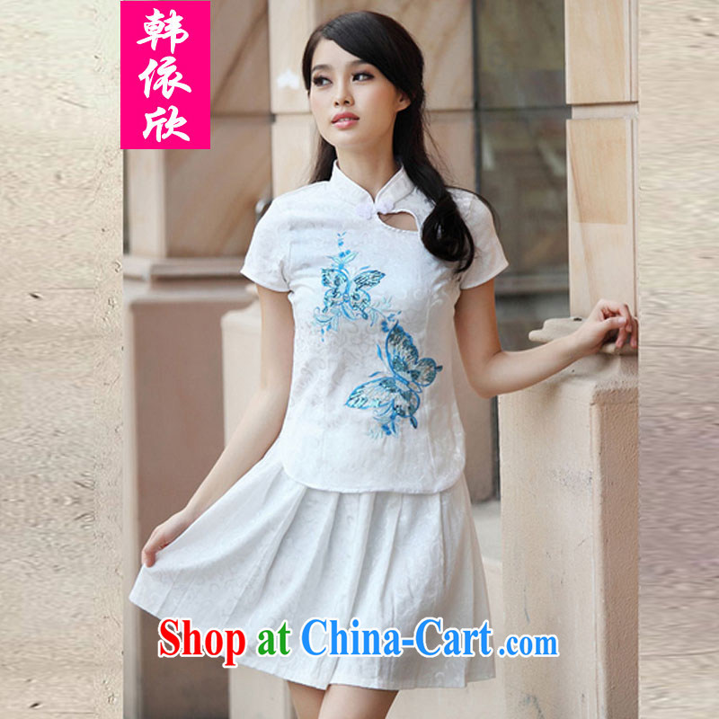 In accordance with South Korea welcomes summer 2015, elegant antique cheongsam dress Kit blue XL