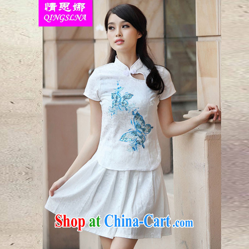 The love of summer 2015, elegant antique cheongsam dress Kit blue XL