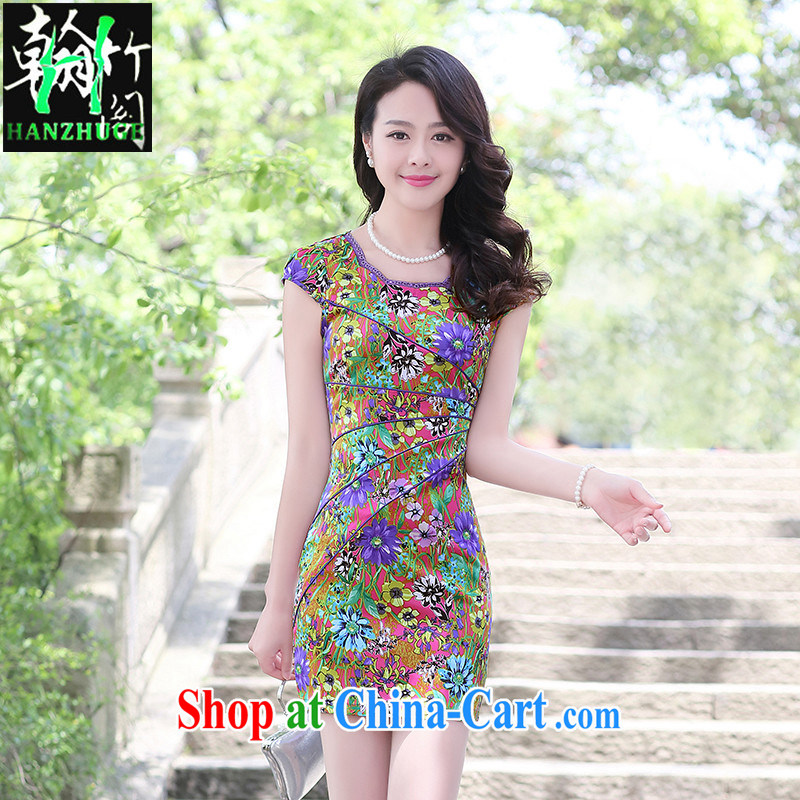 Han bamboo Pavilion 2015 summer new short-sleeved stylish stamp dress improved retro beauty and elegant qipao skirts of red bottom small perfume XXL
