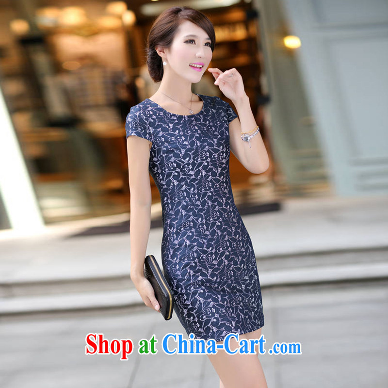 2015 UYUK new summer porcelain was tight dresses beauty round-collar tight graphics thin short-sleeve double-yi dresses blue and white porcelain XXXL