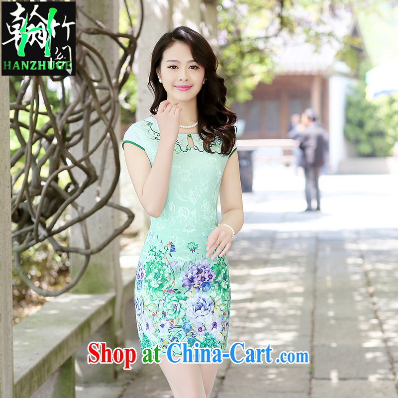 Han bamboo Pavilion 2015 summer new short-sleeved round-collar dress retro China wind daily improved cultivation cheongsam dress green the Peony XXL