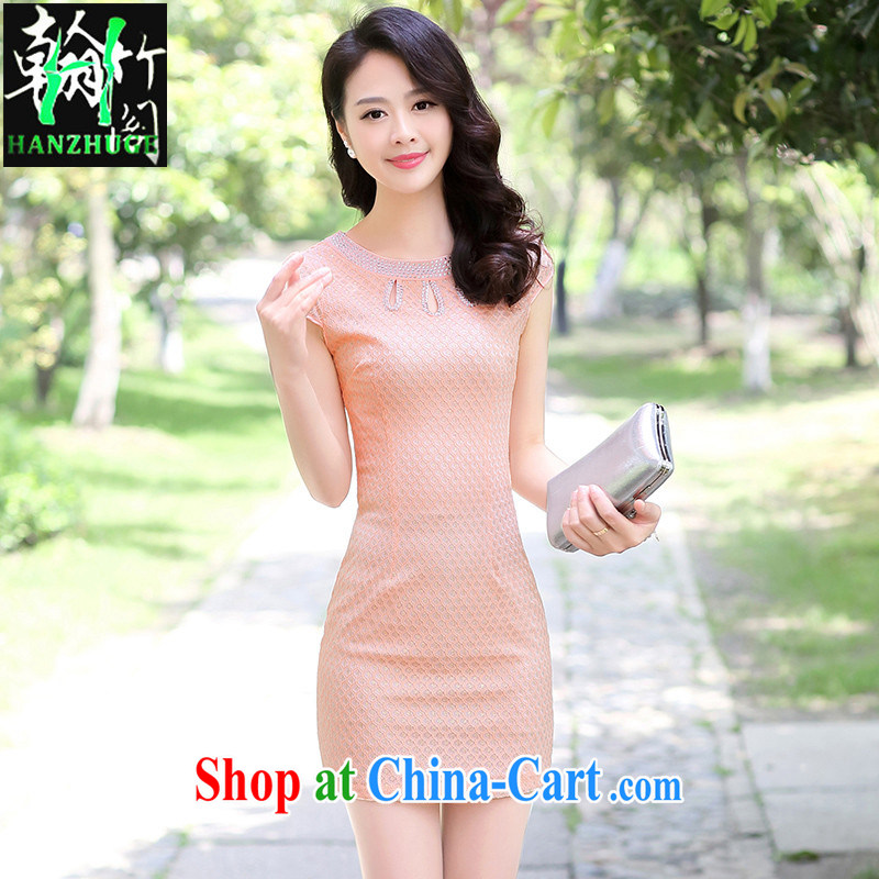 Han bamboo Pavilion 2015 new summer fashion improved daily lace antique dresses short, cultivating graphics thin dresses pink XXXL