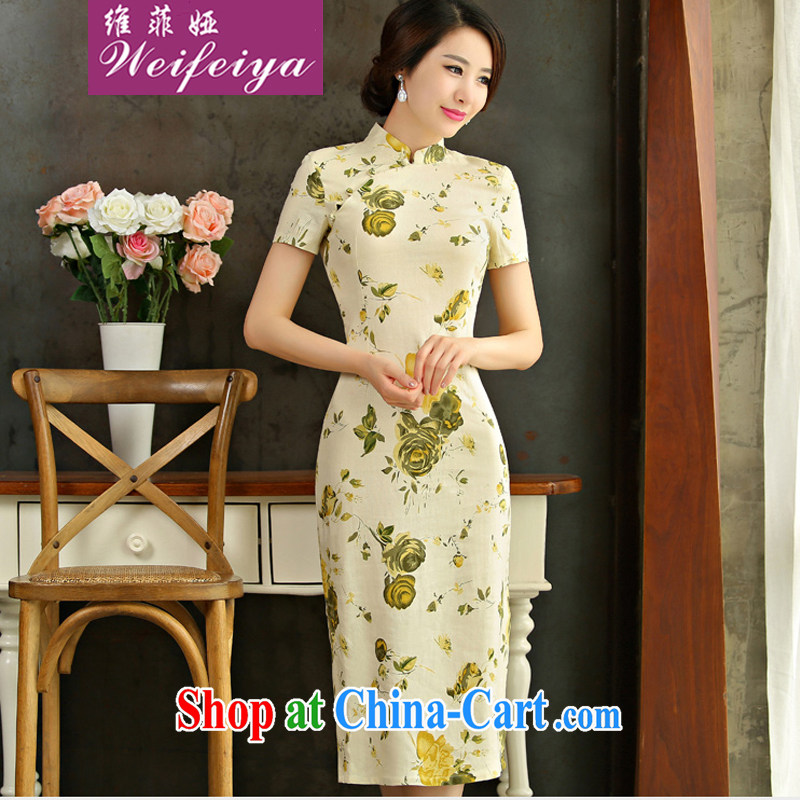 The Sophia Loren 2015 new dresses spring and summer beauty retro graphics thin short sleeves in the Code improved linen long cheongsam dress Q Huangmei opera 9004 9012 XXL