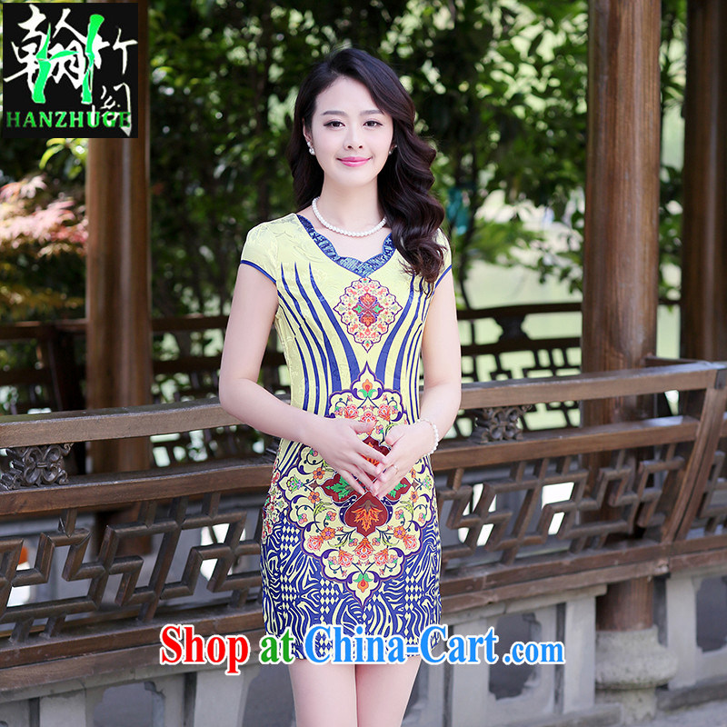 Han bamboo Pavilion 2015 new, improved day-old fashioned beauty dresses spring and summer stylish stamp short sleeve cheongsam dress blue ripple XXL