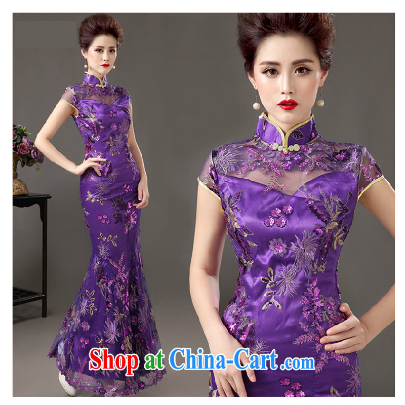 White first about long bows Service Bridal 2015 new banquet dress qipao annual meeting moderator dress girls purple tailored contact Customer Service