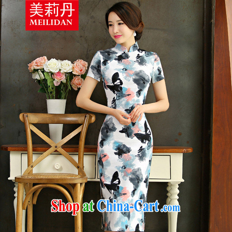 The US Li Dan 2015 summer retro beauty graphics thin short sleeves in the Code improved linen long cheongsam dress Q 9004 the butterfly 9010 XXL