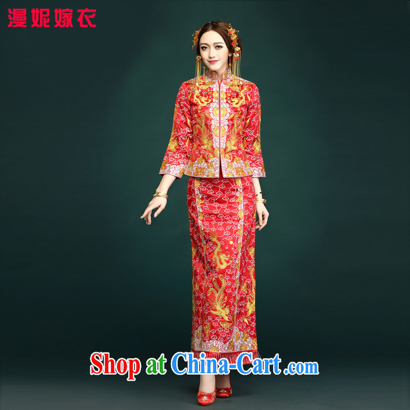 man she married Yi use phoenix Sau Wo bridal dresses 5 small well Chinese Dress retro-soo and wedding dress gold and silver thread and dress and wedding clothes married Yi costumes red XXXL