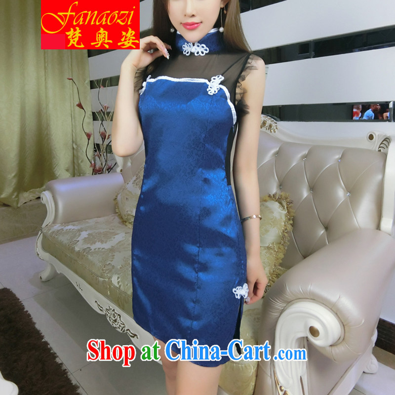 Vincent van Gogh's Olympic City 2015 retro Web yarn current forwarding side on the truck cheongsam dress package and back exposed picture color code