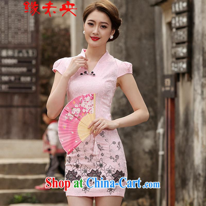 The flies love summer 2015 new women's clothing Stylish retro short cheongsam dress C C 518 1120 white XL
