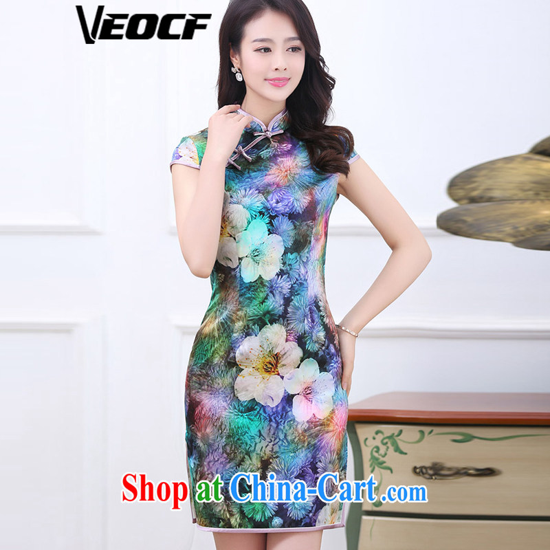 VEOCF days, summer 2015 new female retro high on the truck in cultivating long Silk Dresses 110 - 1535 7 color XXL