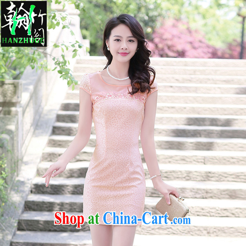 Han bamboo Pavilion 2015 new retro elegant Chinese improved daily lace dresses summer short-sleeved Solid Color dresses pink XXXL