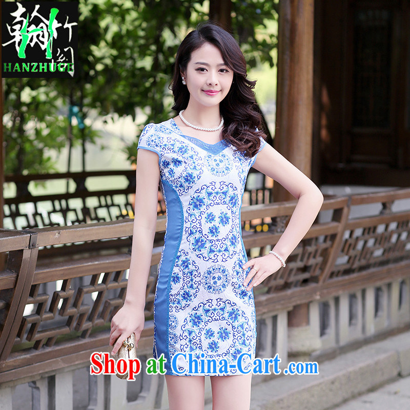Han bamboo Pavilion 2015 summer new short-sleeved stamp lady dresses retro China wind daily fashion cheongsam dress blue and white porcelain XXL