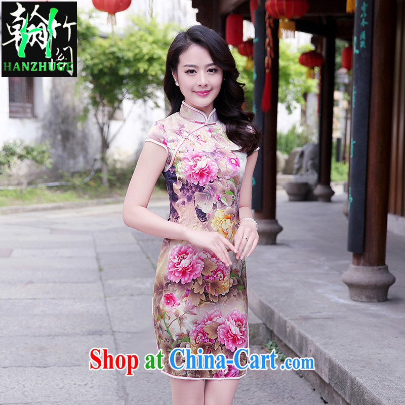 Han bamboo Pavilion 2015 new summer improved retro sauna silk Silk Cheongsam dress beauty stamp pack and dress pink Peony XXL