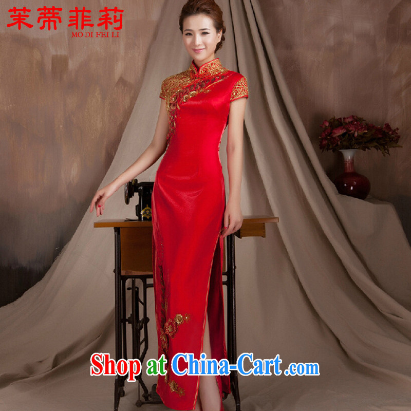 Energy Mr. Philip Li long red improved cheongsam-su Wo service female stereo manual flowers elegant bridal retro King sprinkler service red XXL