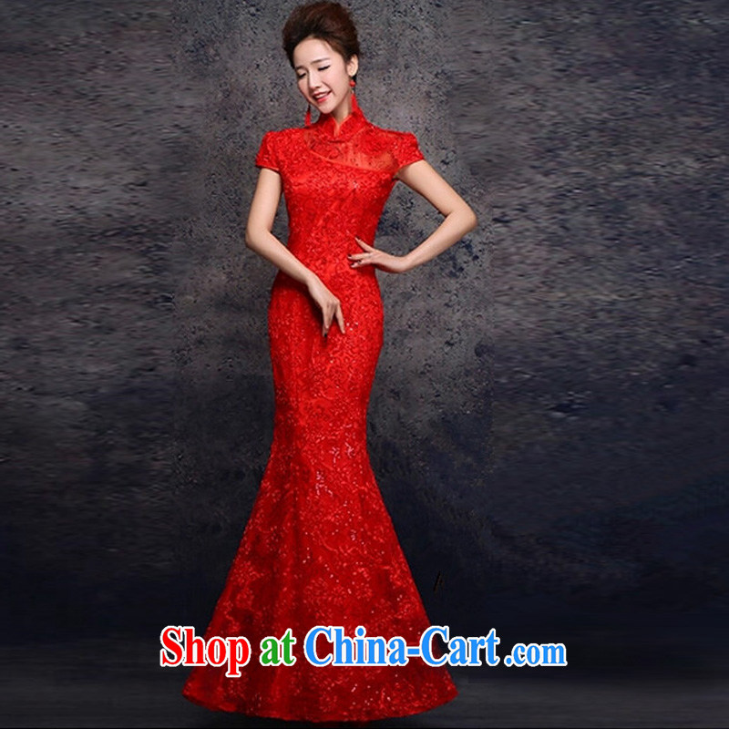 Energy Mr. Philip Li retro improved cheongsam dress summer lace crowsfoot long Chinese bows serving red XXL, energy, Philip Li (mode file), and on-line shopping