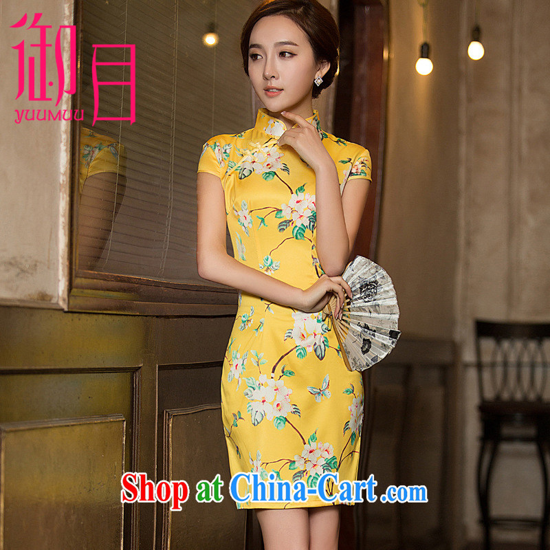 Imperial Palace, cheongsam dress summer, older women with the Code 2015 summer new dresses, silk dresses light stamp beauty dress yellow xxl