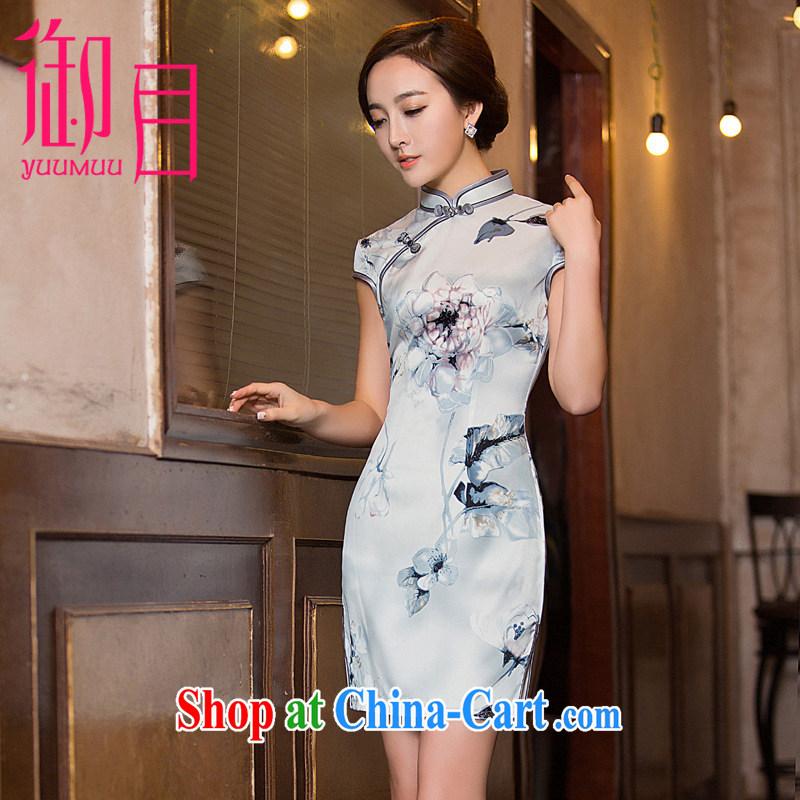 Imperial Palace, improved short cheongsam dress code the older women silk 2015 summer fashion dresses dress blue-gray xxl