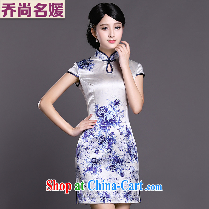 Joe is still name-yuan blue and white porcelain cheongsam dress upscale heavy silk sauna silk daily improved ZS 032 blue S