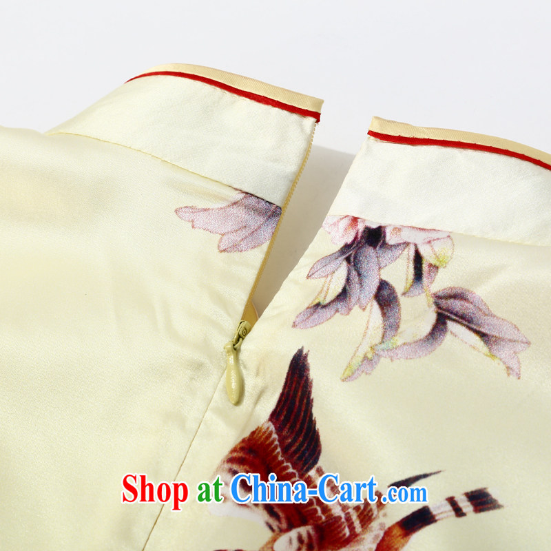 Joe is still a ritual summer new, short-sleeved improved cheongsam dress silk wedding mother load ZS 043 yellow XXL, CHOSHAN LADIES, shopping on the Internet