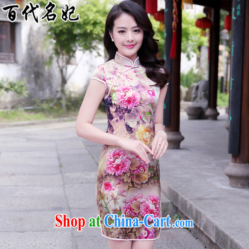 100 the princess summer 2015 New Silk Cheongsam improved cheongsam dress upscale dress stamp antique dresses pink Peony S