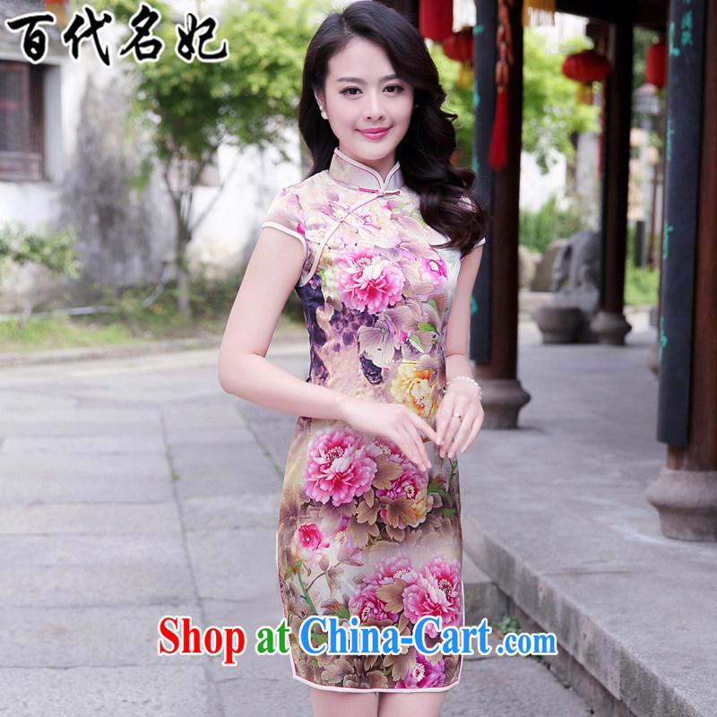 100 the princess summer 2015 New Silk Cheongsam improved cheongsam dress upscale dress stamp antique dresses pink Peony S