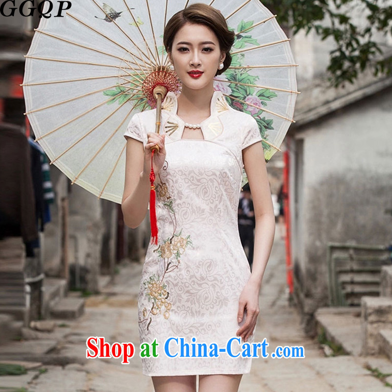 GGQP summer 2015 new Chinese Antique improved stylish short day cultivating cheongsam dress apricot