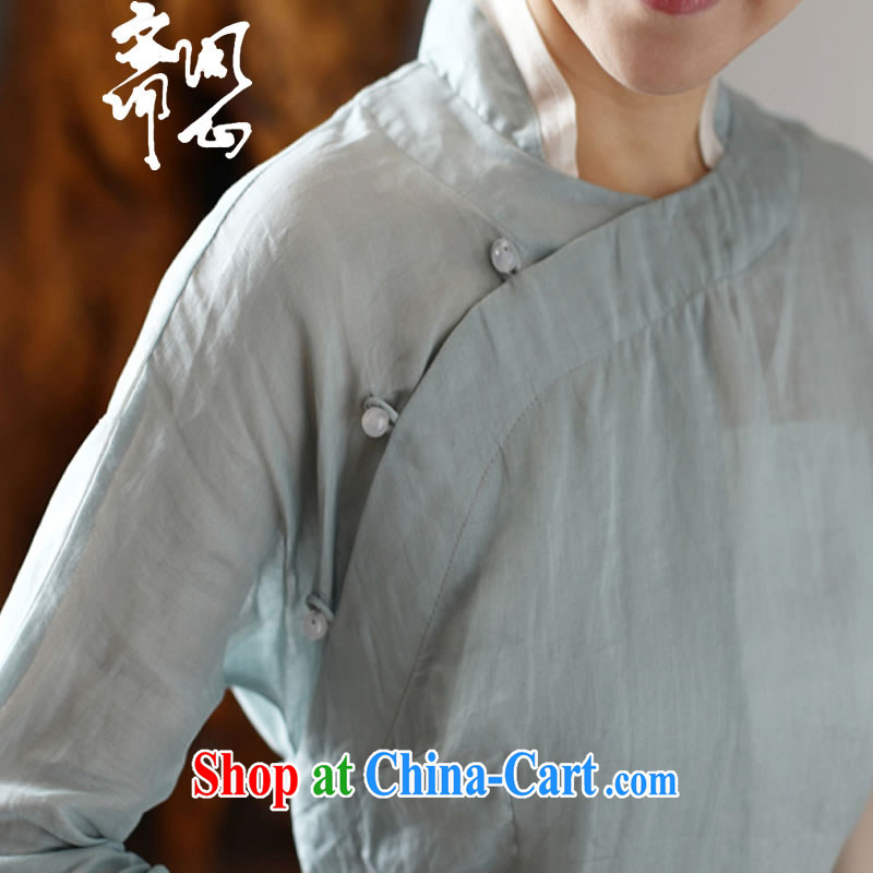 q heart Id al-Fitr in heart health women with spring and summer new, warm-hearted pixel color Chinese T-shirt linen panelled silk T-shirt 2019 light blue T-shirt $328 L, ask heart ID al-Fitr, shopping on the Internet