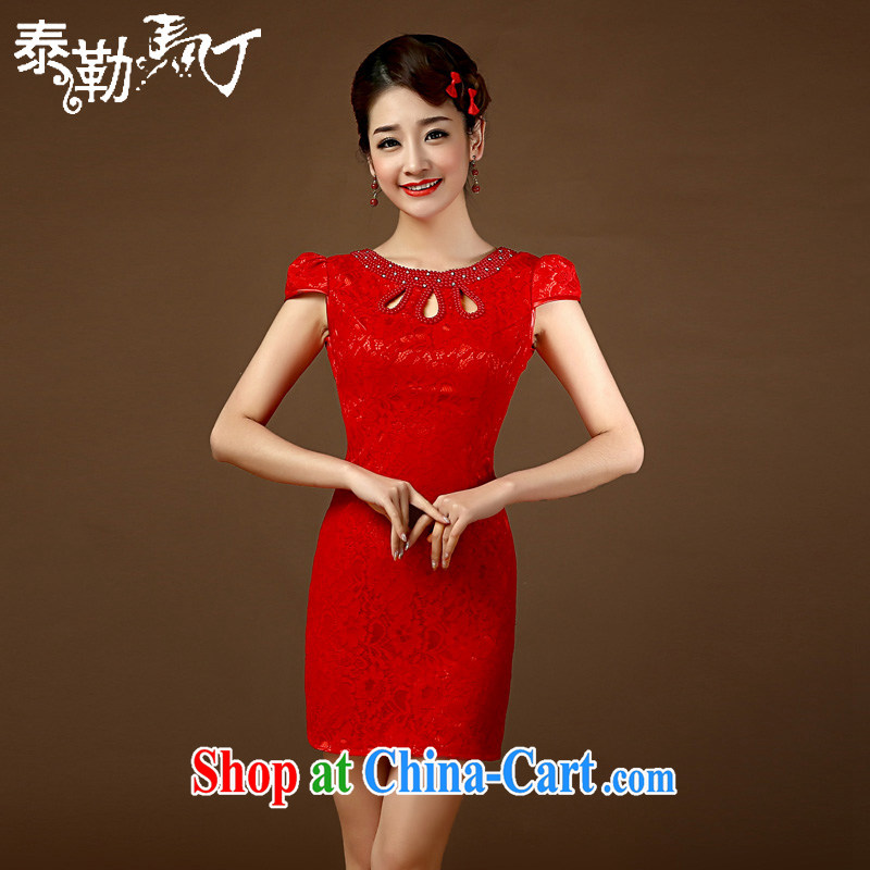 2015 improved cheongsam retro trendy code dress lace short-sleeved Chinese graphics thin wedding bridal toast serving red XL