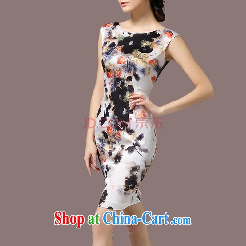 Sweet 1000 to 2015 women new summer beauty graphics thin ink stamp style larger dresses white 3XL
